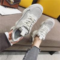 运动鞋女2019春季新款时尚真皮网面透气厚底百搭学生跑步运动鞋