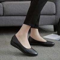 黑色平底圆头坡跟单鞋女皮鞋低跟工作鞋女工鞋职业大码中跟女鞋40 黑色