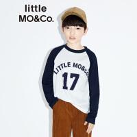littlemoco秋季新品儿童T恤撞色拼接插肩袖标语全棉T恤长袖T恤
