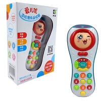 儿童宝宝电话音乐手机婴儿早教故事学习男孩女孩遥控器玩具多功能 变脸音乐遥控器【红色】 送3节7号电池