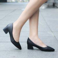 工作职业高跟鞋女粗跟中跟3-5公分浅口黑色面试皮鞋尖头小码单鞋