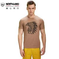 诺诗兰春夏户外男士圆领全棉面料透气短袖T恤 GL055939