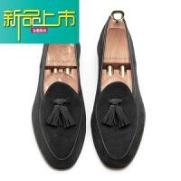 新品上市18冬季新品男鞋秋季新款鞋男士真皮休闲鞋一脚蹬懒人鞋