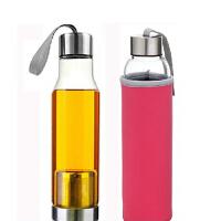 550毫升优质玻璃杯车载杯创意杯子透明提绳水杯带茶漏 送杯套 粉红色