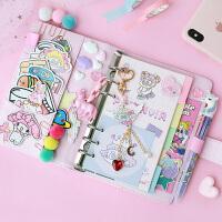 少女心方格手帐本 韩国粉色网红可爱活页纸笔记本子手账套装文具