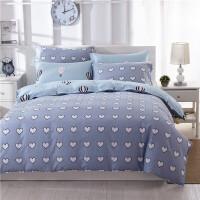 1床上用品4四件套2全棉被套1.5米1.8m床宿舍五单人全棉3三件套一5定制 乳白色 心情告白