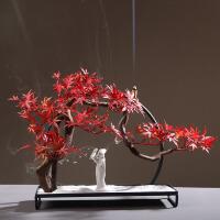 新中式仿真枫叶景观家居玄关软装饰品创意样板房室内家庭茶室摆件