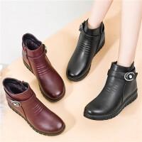 妈妈棉鞋冬季中年女鞋平底防滑中老年短靴女加绒保暖棉鞋皮靴女靴