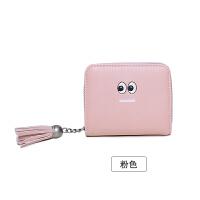 新款韩版钱包女短款小清新简约可爱流苏拉链搭扣折叠钱夹