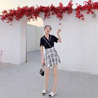 卡贝琳女拼接假两件连衣裙女夏2019流行裙子收腰显瘦高腰a字裙气质格子裙