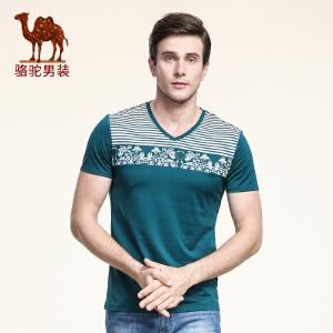 骆驼男装 夏季新款微弹时尚修身V领印花休闲短袖T恤衫男