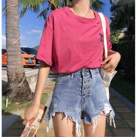 高腰牛仔短裤女夏季显瘦2019新款破洞毛边不规则阔腿裤热 蓝色