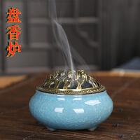 佛教用品陶瓷香炉铜盖佛具仿古合金线香檀香沉香熏香盘香冰裂窑变