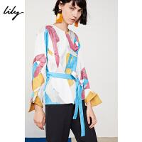 Lily春新款女装洋气通勤收腰气质套头衫印花衬衫119130C8250