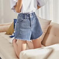 [1折价26.8元]唐狮春夏新款牛仔短裤女夏季高腰毛边牛仔短裤宽松显瘦阔腿裤A