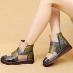 复古民族风妈妈鞋软底手工中老年短靴冬季加绒平底棉靴