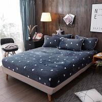 法兰绒床笠单件珊瑚绒床罩席梦思床垫保护套加厚1.8m床单防尘罩