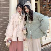 女装韩版时尚休闲套装冬季夹棉加厚棉衣外套女+九分阔腿裤两件套女保暖宽松女