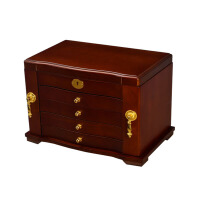 带锁首饰盒梳妆盒化妆盒 木质质欧式公主首饰收纳盒 结婚礼物生日礼物结婚纪念类摆件