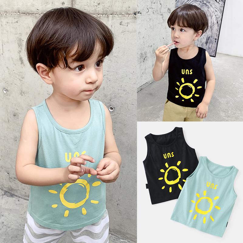婴儿纯棉背心无袖T恤夏季童装儿童男宝宝薄款小童上衣