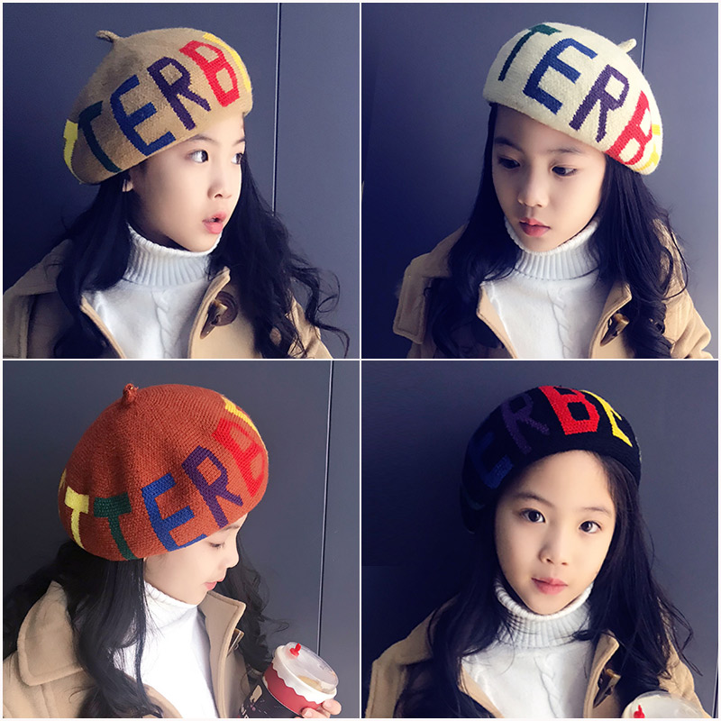 秋冬季英伦风儿童贝雷帽男女孩画家帽学生报童帽韩版中大童亲子帽