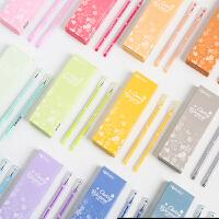 彩色中性笔做笔记专用笔黑笔12色套装糖果色韩国可爱手账笔0.5mm黑多色全针管水笔超萌文具用品彩色笔芯