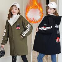 中长款孕妇棉衣服 孕妇冬装风衣韩版新款长袖连帽加绒孕妇外套