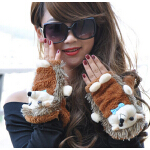 新款潮流时尚韩版卡通半指手套女厚保暖可爱毛绒手套