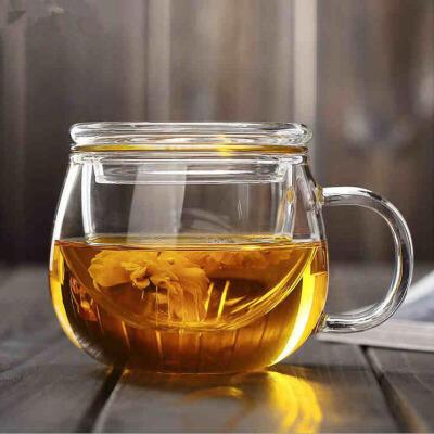 泡茶杯耐热玻璃茶具带盖过滤透明办公水杯花茶杯耐高温圆趣三件杯