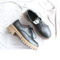 布洛克单鞋牛津鞋复古黑色小皮鞋2018秋季新款英伦风女鞋中跟粗跟