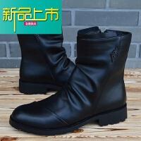 新品上市韩版尖头皮靴男士高帮皮鞋英伦靴子马丁靴男机车靴潮流牛仔靴