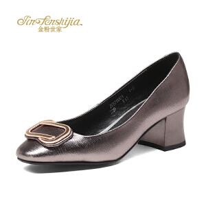 红蜻蜓旗下品牌金粉世家女鞋秋冬休闲鞋鞋子女高跟鞋JFB7000