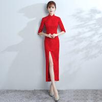 新娘敬酒服旗袍2018新款冬季中长款端庄大气结婚礼服裙女红色显瘦 大红色长款