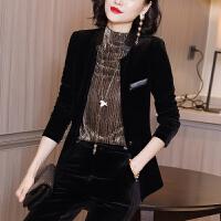 安妮纯金丝绒小西装外套女春装2020新款休闲上衣短款小香风洋气黑色开衫