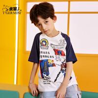 【3件2折:41.8元】小虎宝儿男童短袖T恤纯棉薄款2021夏季新款儿童上衣中大童