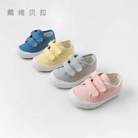 davebella戴维贝拉儿童帆布鞋女童鞋秋新款男童宝宝鞋子DBX12872
