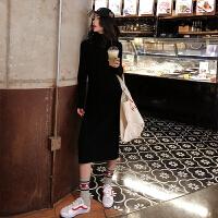 高领毛衣女2019秋冬新款法式气质开叉修身长款过膝打底针织连衣裙 均码 Q0405
