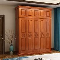 实木衣柜简约现代经济型家用组装3 4 5 主卧室整体大衣橱组合