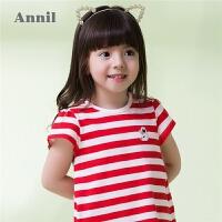 【3件3折:41.7】安奈儿童装女童T恤夏装新款女小童经典条纹圆领套头打底上衣
