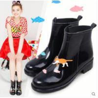 雨鞋女防水时尚水鞋手绘风女式低筒雨靴水靴短筒胶鞋