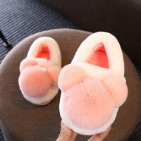 男女童棉拖鞋冬季毛绒包跟防滑家居鞋宝宝室内穿厚底2岁
