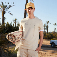 【直降�r:40】森�R2021夏季新款�A�I短袖T恤男青年印花套�^��衫�r尚上衣�W生