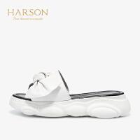 【 立减120】哈森2019夏季新款羊皮革仙女风凉鞋女 懒人拖鞋女外穿HM97188