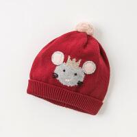 davebella戴维贝拉童装冬季新款女童帽子宝宝针织套头帽DB13981-1