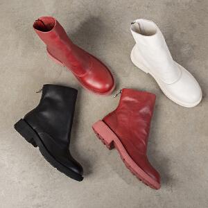 玛菲玛图女靴子秋新款2018倒靴圆头时装靴中跟平底及踝靴休闲后拉链马丁靴57511-12