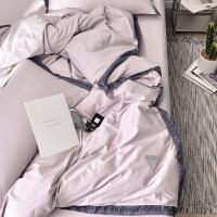 ins北欧纯色四件套棉简约织带风棉60支素色网红床单双人1.8米T