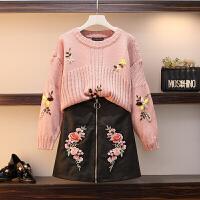 大码女装秋冬新款微胖妹妹洋气毛衣套装裙遮肉两件套减龄时髦 粉红色 毛衣+裙子