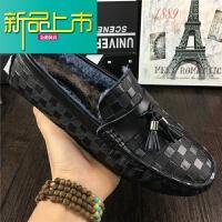 新品上市春季利登男鞋豆豆鞋纹真皮休闲皮鞋男式一脚蹬懒人购