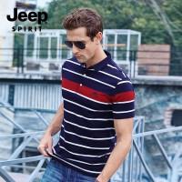 吉普(JEEP)短袖T恤 男士棉翻领条纹半袖POLO衫 宽松透气翻领条纹纯棉短袖T恤