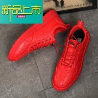 新品上市红色秋冬男士休闲鞋男18新款百搭板鞋网红鞋子小红鞋潮鞋男 红色 1831
